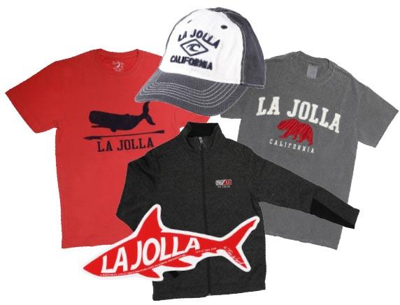 La Jolla hat, $20, whale tee, $23, Cali bear tee, $23, zip-up sweatshirt, $60, sticker, $3, Blue Apparel, 1237 Prospect Street, La Jolla 858.454.2583 blueapparel.com