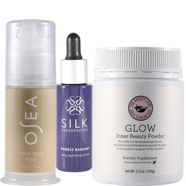 Glow dietary supplement, $70, Osea white algae mask, $54, Silk Therapeutics daily hydrating serum, $85, The Sanctuary Wellness Experience, 1955 Cable Street, Ocean Beach 619.861.8351 thesanctuarytoday.com