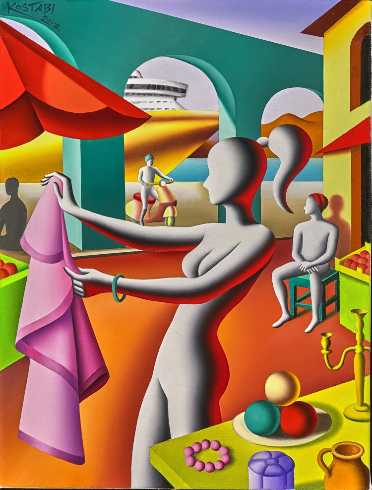 Mark Kostabi, The Next Right Move, oil on canvas, 23.75 x 17.9 inches
