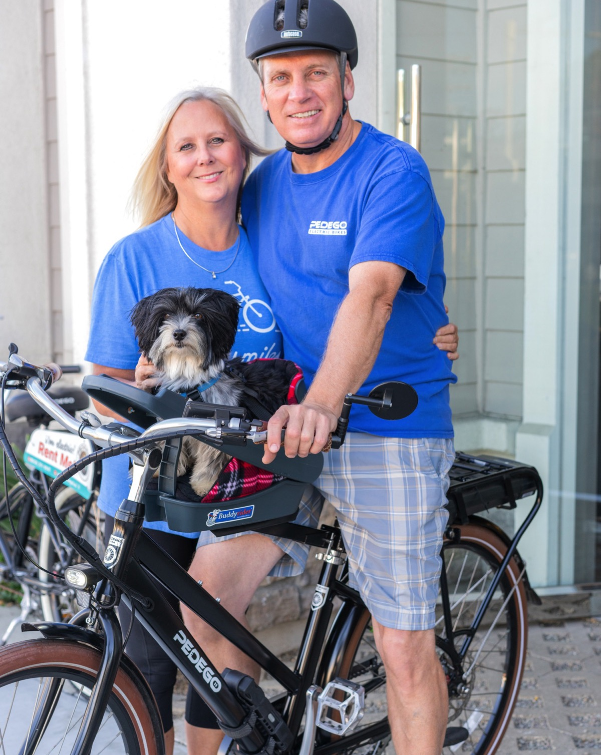 Tracy Sheffer and Terry Galka at Pedego Electric Bikes La Jolla with Riley