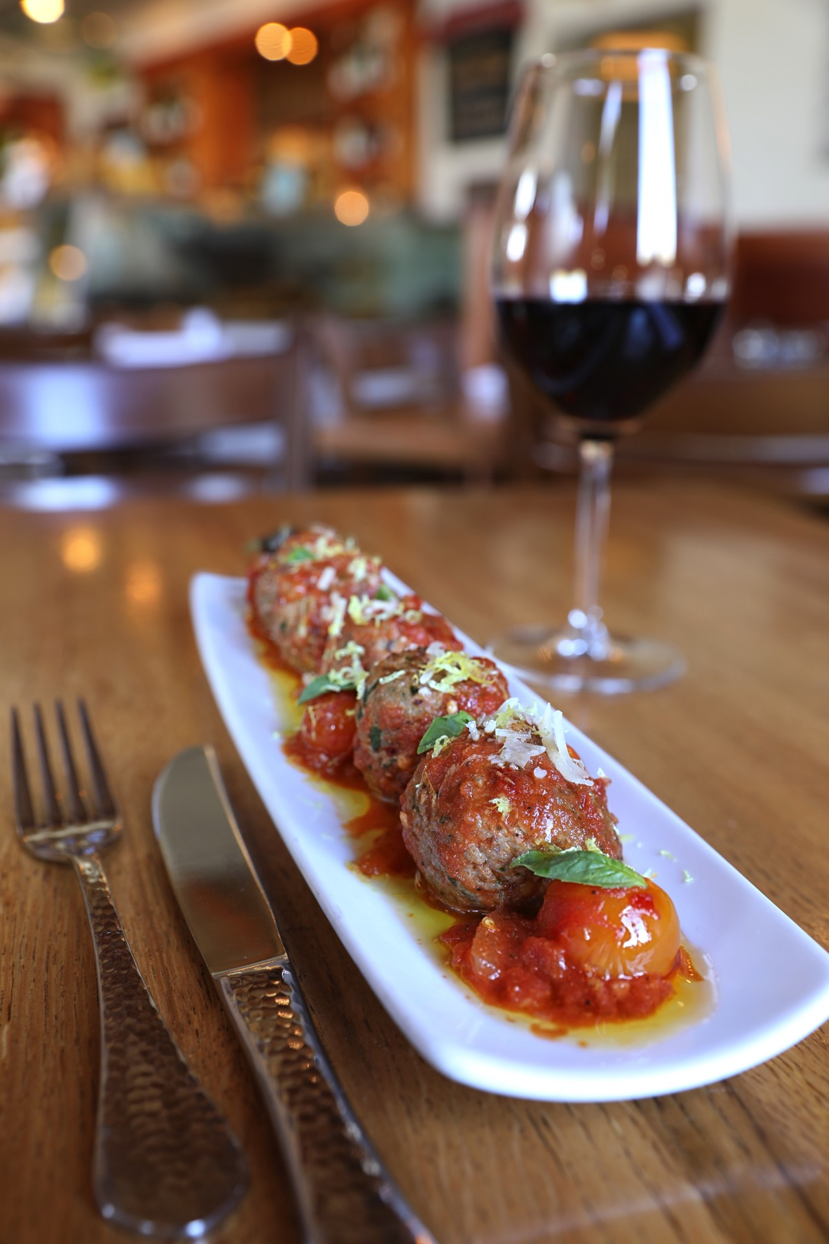 """Opah Cheek """"Meatballs"""" with Spicy Tomato Sauce at The Fishery"""