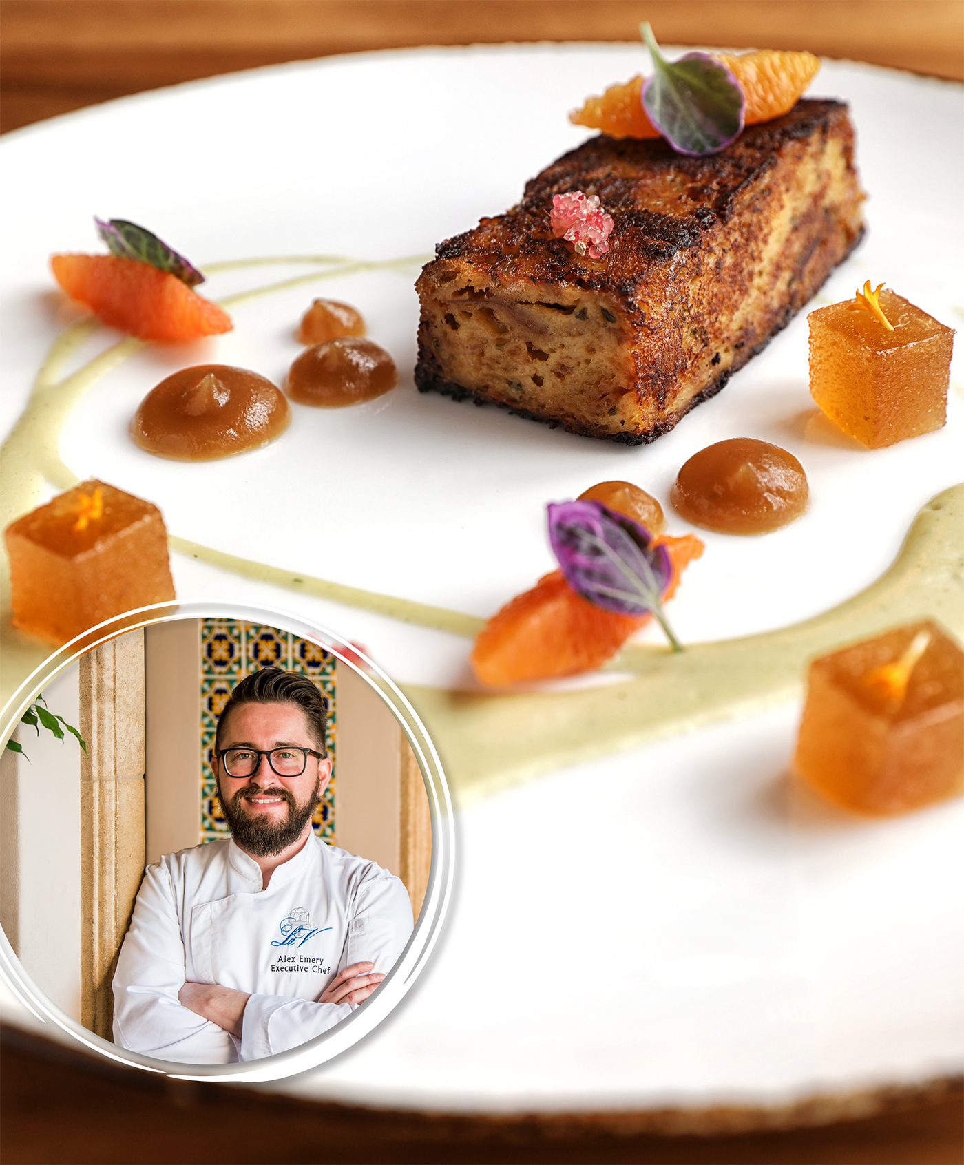 Duck Confit Bread Pudding from Alex Emery, Executive Chef at The MED Oceanview Restaurant