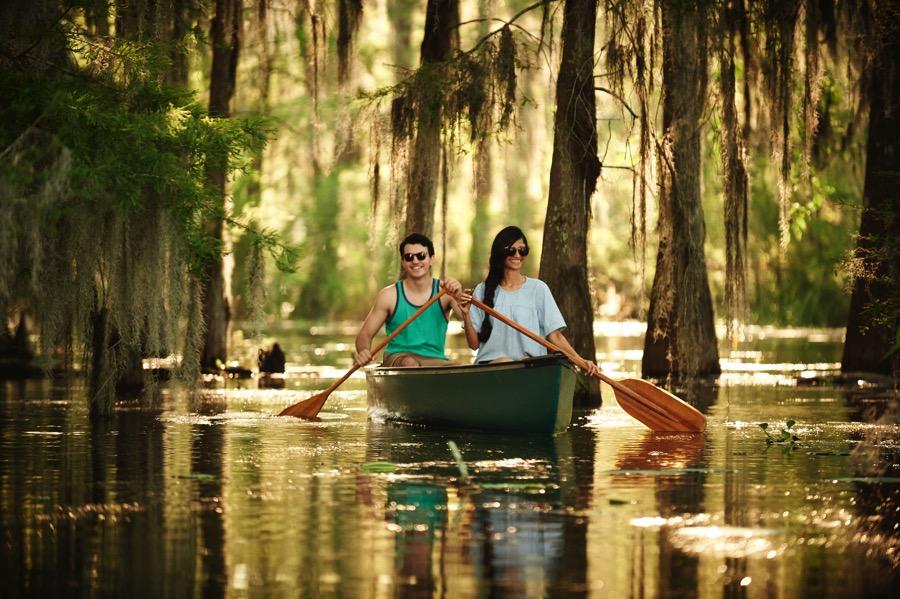 JAMIE ORILLION/LAFAYETTE TRAVEL  |  Canoeing among the cypress trees on Lake Martin.