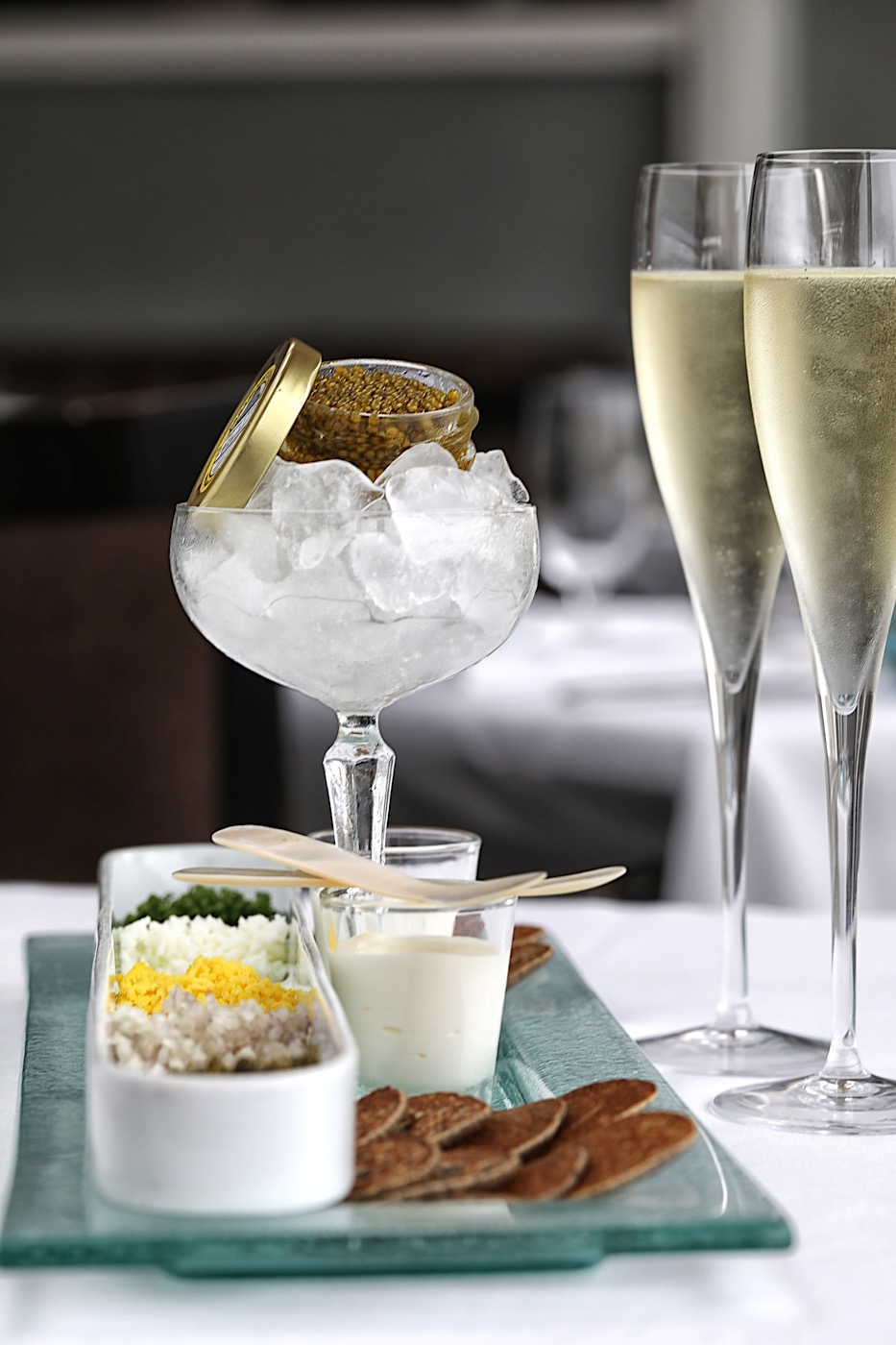 Caviar and Champagne with 2008 Louis Roederer Cristal Tête de Couvée at The Marine Roon