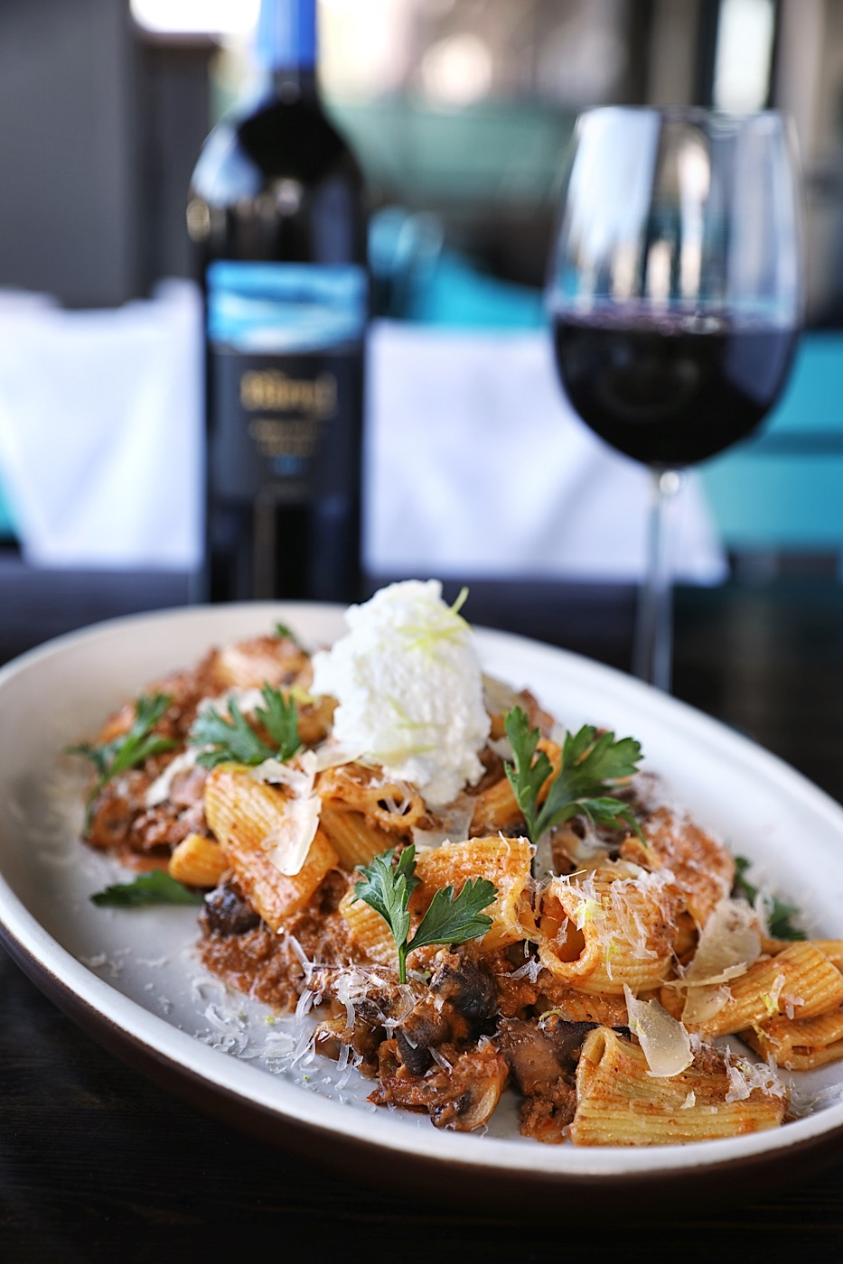 Rigatoni Bolognese with 2015 Hill Farm Estate Barrel Blend at Beaumont's Eatery