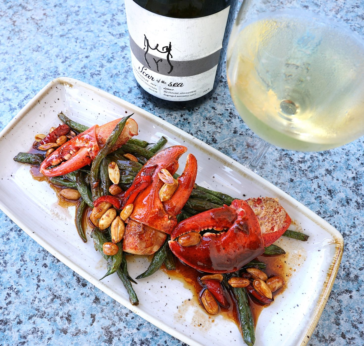 Lobster Claws and Szechuan Green Beans with 2015 Bien Nacido Scar of the Sea Sparkling Chardonnay at The Fishery
