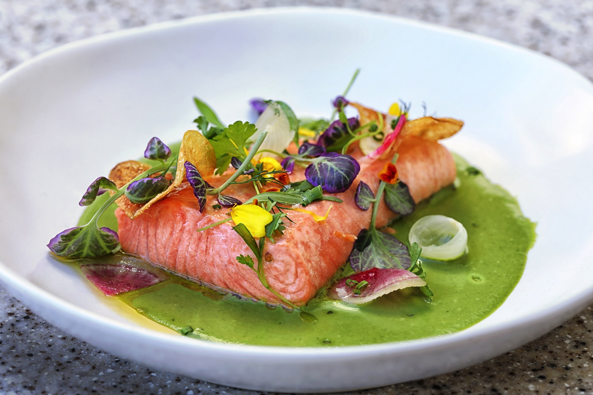 NINE-TEN Restaurant & Bar's Poached Salmon in Vichyssoise Sauce
