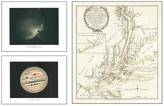LEFT: Two drawings from The Great Nebula of Orion by Etienne Leopold Trouvelot RIGHT:  A rare Revolutionary War battle plan of New York City