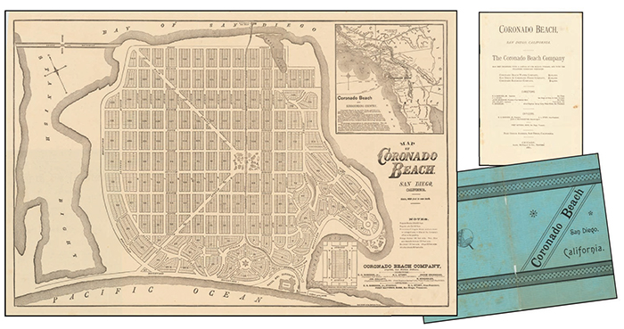 An 1887 Map of Coronado with the original blue paper wrapper