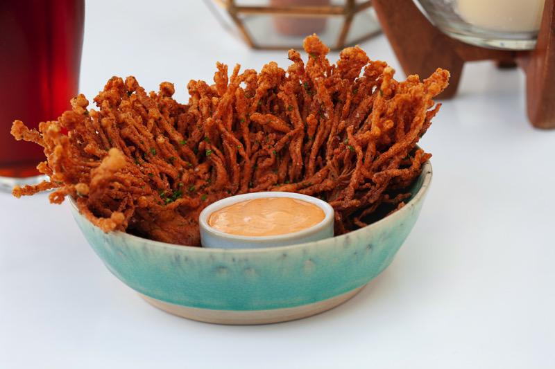 Buttermilk-fried  enoki mushrooms  with adobo dip