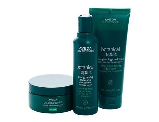 Aveda Botanical Repair Intense Strength Masque Rich, $59; shampoo, $35; conditioner, $37