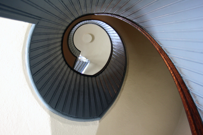 The spiral staircase inside Point Loma Lighthouse | SanDiego.org