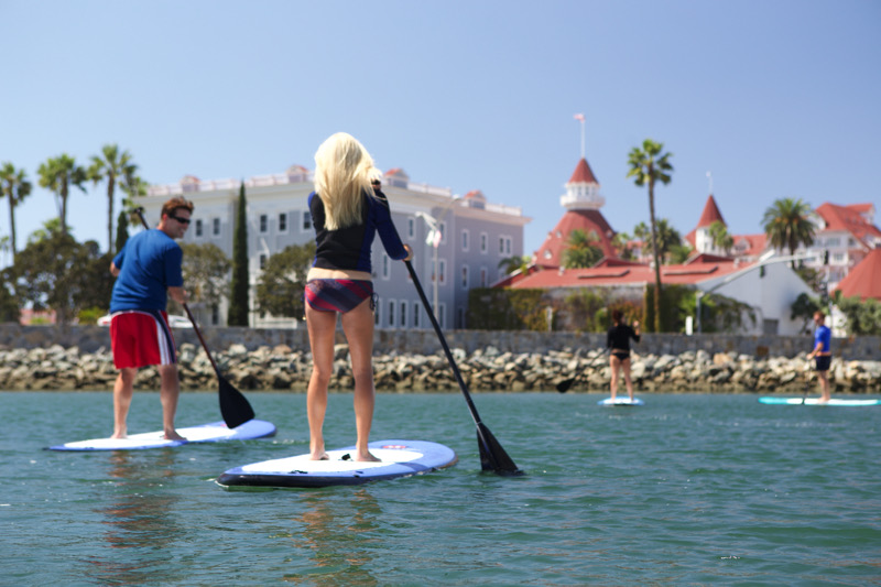 Paddleboarding near the iconic Hotel del Coronado